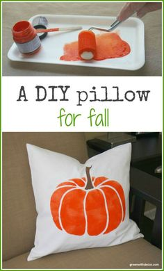 Green With Decor – A DIY Fall pillow Use Paint-A-Pillow pumpkin pillow kit to make a DIY fall pillow. Great ideas for DIY pumpkin pillows and other fall pillow DIY projects. Pumpkin Pillows, Fall Pillows, Diy Pillows, Diy Pumpkin, Pillow Crafts, Halloween Room Decor, Fall Room Decor, Halloween Pillows, Halloween Crafts
