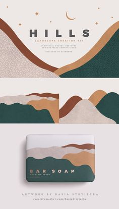 Abstract Landscape Creation Kit - Textured watercolor shapes, elements, and pre. - Madeline Porter - Abstract Landscape Creation Kit – Textured watercolor shapes, elements, and pre-made composition - Id Card Design, Web Design, Brand Design, Design Trends, Shape Design, Good Design, Brand Identity Design, Design Art, Logo Branding