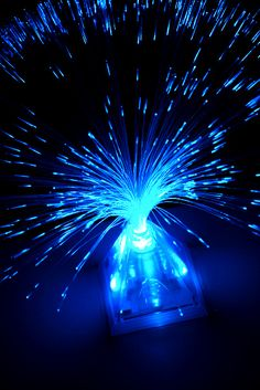 Blue Pyramid Fiber Optic Centerpiece Displays Blue LED Light Base $4.99 each/ 12 for $3.29 each
