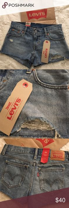 NEW Levi's Shorts Denim Distressed Sz 24 Brand new with tags. Sz 24. In style shortie short Low rise slim through hip. Levi's Shorts Jean Shorts
