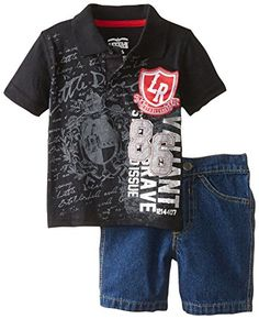 Little Rebels Baby Baby Boys 2 Piece Polo LR 86 Tee and Hsort Black 18 Months ** Continue to the product at the image link.Note:It is affiliate link to Amazon.
