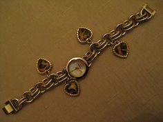 Style & Co Charm Watch MOP Face Leopard Lucite Gold Tone Heart Charms Gold Tone  #StyleCoCharmWatch