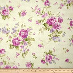 Designed by Eleanor Burns for Benartex, this cotton print fabric is perfect for quilting, apparel and home decor accents. Colors include berry pink, green and lavender on a cream and pink polka dot background.