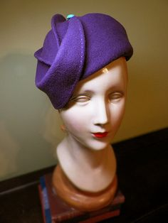 Purple Wool Hat with TopStitching & Vintage by BaublesAndWhatnots, $105.00