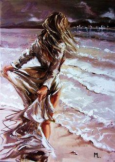 Monika Luniak Painting Of Girl, Oil Painting On Canvas, Canvas Art, Deviant Art, Figurative Art, Love Art, Female Art, Art Pictures, Les Oeuvres