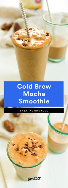 7 High-Protein Coffee Shakes That Will Make Any Morning Better Cold Brew Mocha Smoothie This smoothie uses our favorite healthier sweetener: dates! You only need two to make it so sweet, and they'll add some fiber and potassium to your shake at the same t Protein Smoothies, Protein Snacks, Pancakes Protein, Protein Shake Recipes, Apple Smoothies, Smoothie Recipes, High Protein, Juicer Recipes, Diet Recipes