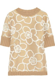 Marni Jacquard Paneled Knitted Sweater in Beige (brown) | Lyst