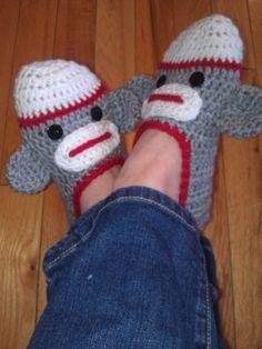 Ladies Sock Monkey Slippers - Pattern. $4.50, via Etsy.