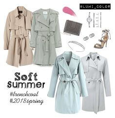 """Soft summer trench coats"" by lumicolor on Polyvore featuring Banana Republic, Miss Selfridge, Chicwish, Luana, Chantecaille, Badgley Mischka, Anne Klein, Alexandre Birman, Gucci and trenchcoat"