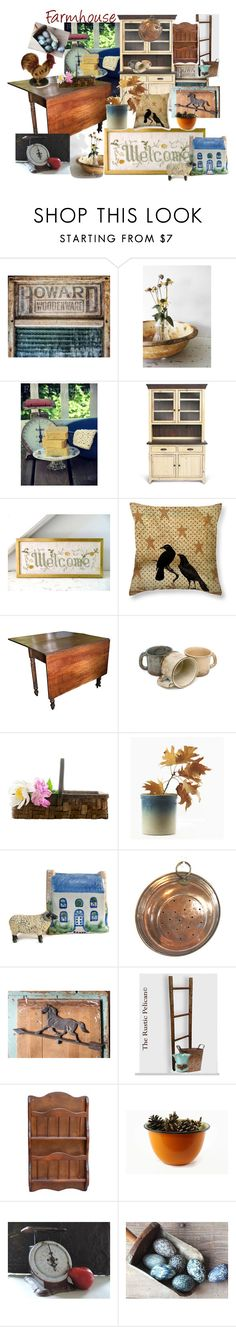 """""""Farmhouse"""" by plumsandhoneyvintage ❤ liked on Polyvore featuring interior, interiors, interior design, home, home decor, interior decorating, Granite Ware, WALL, country and etsy"""
