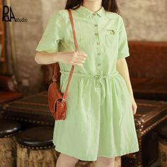 Groen/wit kawaii pretty japan borduren herten pocket korte mouwen turn-down kraag lijn een stuk mori meisje dress, plus size