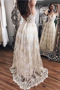 Love the material and the detailed overlay at the bottom - not a fan of the waist up though... too casual Formal Dresses, Wedding Dresses, Dream Wedding, Modern, Fashion, Bride Dresses, Moda, Wedding Gowns, Dresses For Formal