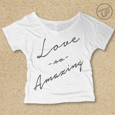 Love So Amazing Slouchy, Off-Shoulder, Slub Tee in White / Light Grey.....Christian Graphic t-shirt, Graphic Tee, Shirt with Words by weekendUP on Etsy https://www.etsy.com/listing/237116016/love-so-amazing-slouchy-off-shoulder
