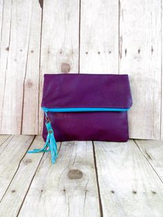 SALE Leather Fold Over Clutch In Purple Leather With by 14xbags 85363864e94e