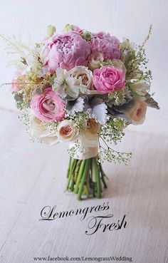 I definitely want peonies, and I love how full and perfect this bouquet looks!