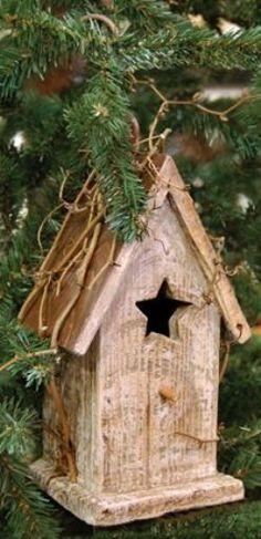 Birdhouse Antique White Country Rustic Primitive