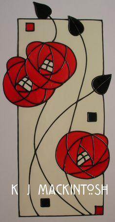 Stained Glass Quilt, Stained Glass Flowers, Stained Glass Designs, Stained Glass Patterns, Art Nouveau Tiles, Art Nouveau Design, Charles Rennie Mackintosh Designs, Jugendstil Design, Glasgow School Of Art