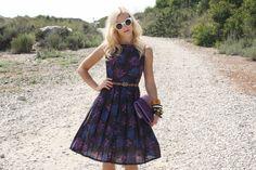 VTG 1950s 50s Purple & Blue Floral Pleated Sleeveless Dress S #vintage #vintagedress #1950s #1950sdress #whendecadescollide