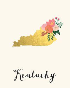 Kentucky Art Printable Kentucky State Art Print by BluePearDesigns