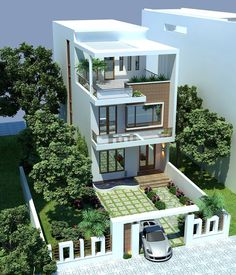 Exterior Morden Architecture house design by pkarchitect 3 Storey House Design, Bungalow House Design, House Front Design, Modern Small House Design, Minimalist House Design, Modern House Plans, Home Building Design, Home Design Plans, Pavillion