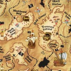 Pirate map- I like the names on this map. I may be able to work in some book titles off these names.
