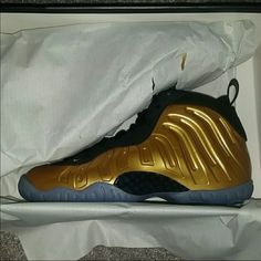 e82c44bd307 Gold Nike little posite one Never Worn Looking to size swap my foams for a  bigger size. Please let me know if you have these foamposites in a size or  Nike ...