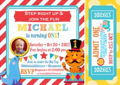 {Circus 1st Birthday} Invitation Fisher Price Circus Birthday  1st Birthday Circus/Carnival Birthday Party Ticket Invitation, Printable, Picture Invitation