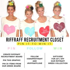 PIN IT TO WIN IT! Enter our giveaway! Follow the rules above to win! #recruitment #greekrecruitment #gogreek #greeklife #pinittowinit