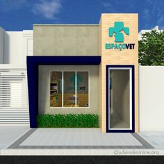 Fachada comercial de uma clínica veterinária Dental Office Design, Modern Office Design, University Interior Design, Pet Clinic, Luxury Services, Pet Shop, Steel Buildings, Decoration, Studio