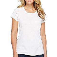 jcp™ Short-Sleeve Crew-Neck Tee- Plus - jcpenney Purple Dress, Blue Dresses, Kohls Dresses, Gap Dress, White Tees, Cap Sleeves, Crew Neck, My Style, Spinning