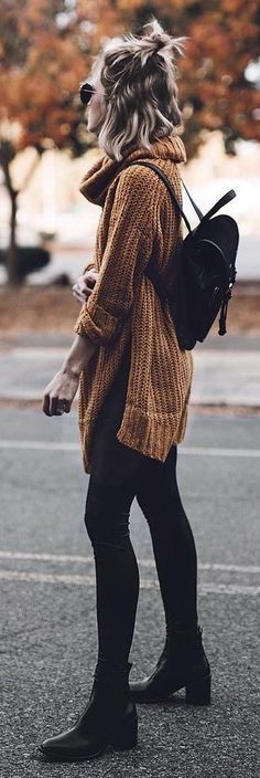 #fall #outfits women's black jeans and brown cown neckline sweater