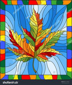 Illustration in stained glass style with a autumn maple leaf on a blue background,in a bright frame Stock Vector - 80441232 Stained Glass Quilt, Stained Glass Patterns, Glass Painting Designs, Paint Designs, Motifs Applique Laine, Illustration, Autumn Art, Leaf Art, Halloween Art