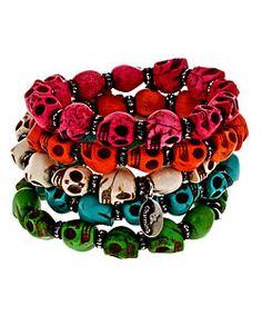 Bee Charming Skull beaded bracelet