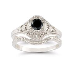 Black Diamond Bridal Set in 925 Sterling Silver Ring From Apples of Gold
