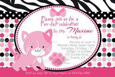 Pink Kitty Cat Birthday Invitation Pretty Kitty Cat by MVDesignInk, $13.50