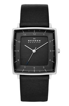 Skagen 'Strand' Square Leather Strap Watch, 35mm available at #Nordstrom