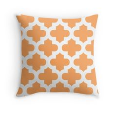 Moroccan,quatrefoil,modern,trendy,orange,white,elegant,chic