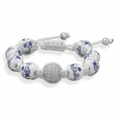 Adjustable Macrame Bracelet with Ceramic and Crystal Beads MMAIntl. $35.11