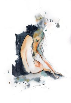 Female Nude Figure Original Painting, watercolor and ink painting, figurative woman painting, modern nuder figure painting art Woman Painting, Figure Painting, Painting & Drawing, Watercolor And Ink, Watercolor Paintings, Original Paintings, Watercolors, Chinese Landscape Painting, Landscape Paintings