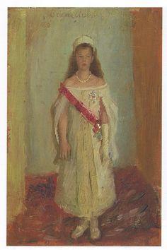 Великая княжна Ольга Александровна (1882-1960), дочь императора Александра III, сестра императора Николая II, 1895 г.  худ. Лауриц Туксен (Laurits Regner Tuxen)