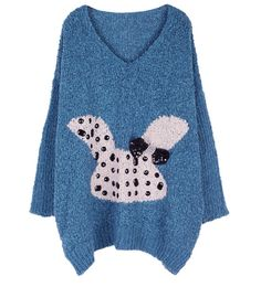 Cartoon Rabbit Loose V Neck Sweater