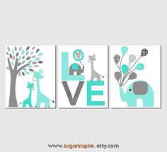 Grey and aqua Nursery Art Print Set, Kids Room Decor, Children Wall Art - Tree…