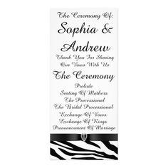 Black and White Zebra Print Wedding Program Cards. Customize.  #weddingprograms