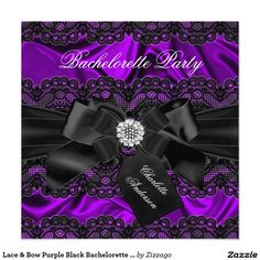 Lace & Bow Purple Black Bachelorette Party Invite