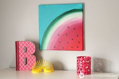 See how great the new line of Deco Art Americana Premium Paints blend together to create a beautiful watermelon canvas art this summer! Small Canvas Paintings, Small Canvas Art, Diy Canvas Art, Kids Canvas, Easy Paintings, Watermelon Painting, Watermelon Art, Watermelon Carving, Americana Paint