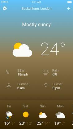 Day Fluent Design, Mostly Sunny, Mobile Design, Ux Design, Design Inspiration, Layout, Weather, Concept, Drawings