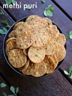 methi puri recipe, how to make methi puri, methi poori, methi ki puri with detailed photo and video recipe. a crisp and tasty tea time, deep fried snack prepared and flavored with fenugreek leaves. it is crisp Dry Snacks, Yummy Snacks, Healthy Snacks, Yummy Food, Healthy Eating, Healthy Recipes, Puri Recipes, Gujarati Recipes, Indian Food Recipes