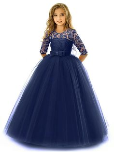 Kids Little Girls' Dress Solid Colored Flower Wedding Party Evening Hollow Out White Blue Purple Lace Tulle Maxi Short Sleeve Flower Vintage Gowns Dresses 3-13 Years 2021 - US $23.09 Ball Dresses, Ball Gowns, Girls Dresses, Prom Dresses, Formal Dresses, Cheap Party Dresses, Party Dresses Online, Lace Dress, White Dress