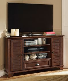Look at this #zulilyfind! Mahogany Palmetto Corner TV Stand by Crosley #zulilyfinds