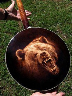 Custom Stelling Banjo - Detail Pyrography by Dino Muradian Murder Mysteries, Cozy Mysteries, Banjo Ukulele, Teen Party Games, Normal Guys, Banjos, Mystery Novels, Folk Music, Agatha Christie